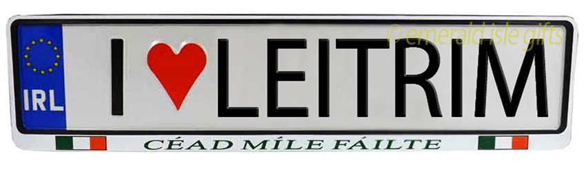 I Love LEITRIM Irish Driving Plate (Crafted in Ireland)