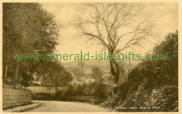 Antrim - Antrim Town - From Dublin Road (old b/w Irish photo)