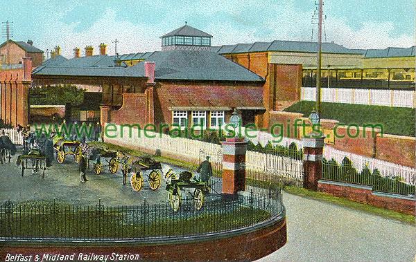 Antrim - Ballymena - Belfast & Midland Railway Station (old colour Irish photo)