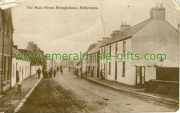 Antrim - Broughshane - Main St (old b/w Irish photo)