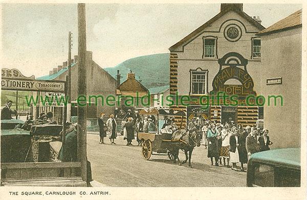 Antrim - Carnlough - The Square (old colour Irish photo)