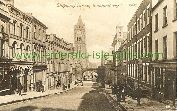 Derry - Derry City - Shipquay Street (old b/w Irish photo)