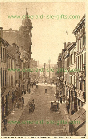 Derry - Derry City - Ferryquay Street (old b/w Irish photo)