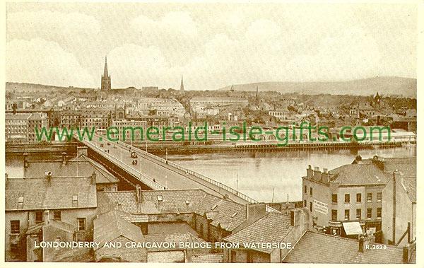 Derry - Derry City - Craigavon Bridge (old b/w Irish photo)