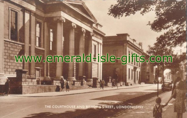 Derry City - The Courthouse - old Irish print