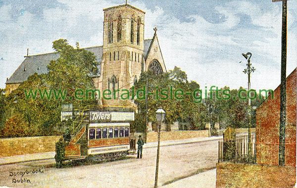 Dublin Sth - Donnybrook - Street scene / Tram (old colour Irish photo)