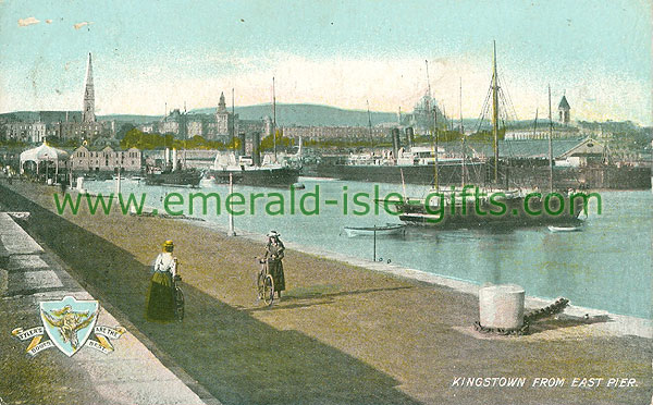 Dublin Sth - Dun Laoghaire - Kingstown from East Pier (old colour Irish photo)
