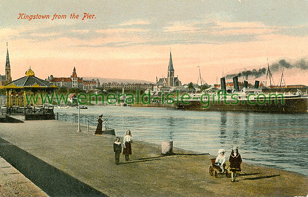Dublin Sth - Dun Laoghaire - Kingstown from the Pier (old colour Irish photo)