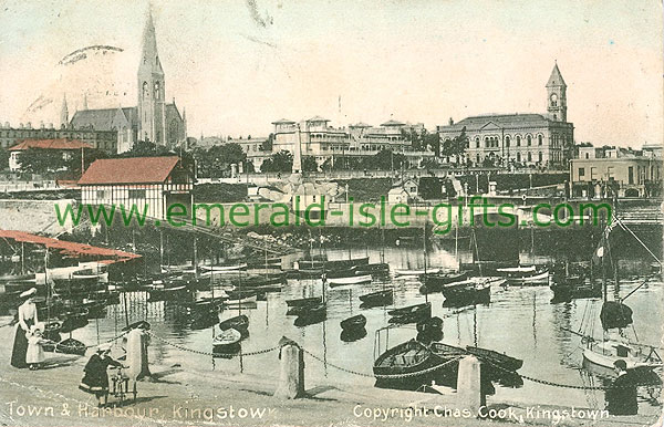 Dublin Sth - Dun Laoghaire - Town and Harbour, Kingstown (old colour Irish photo)