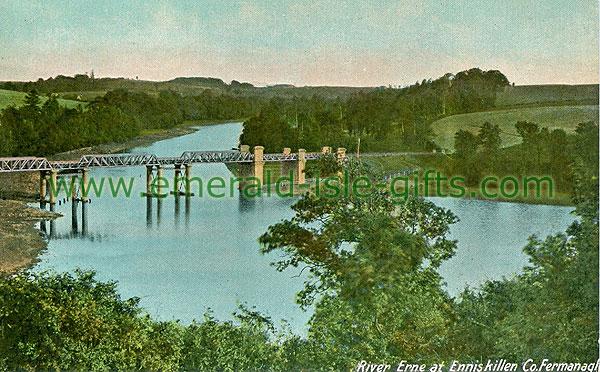 Fermanagh - Enniskillen - River Erne at Enniskillen (old colour Irish photo)