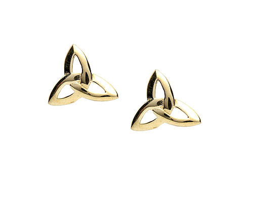 14K Trinity Knot Design Celtic Stud Earrings