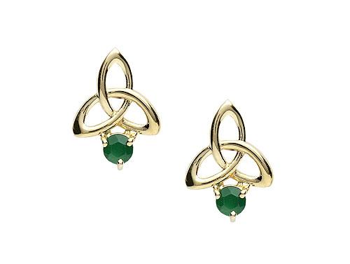 Green Agate & 14K Gold Celtic Irish Stud Earrings