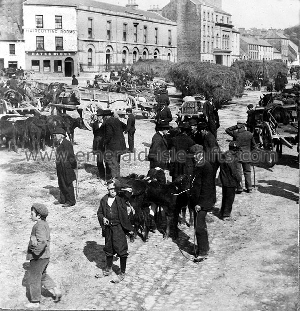 Busy Market Day in Galway (old Irish image)