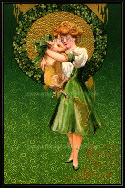 Irish Girl and Pig - Nostalgic St Patrick