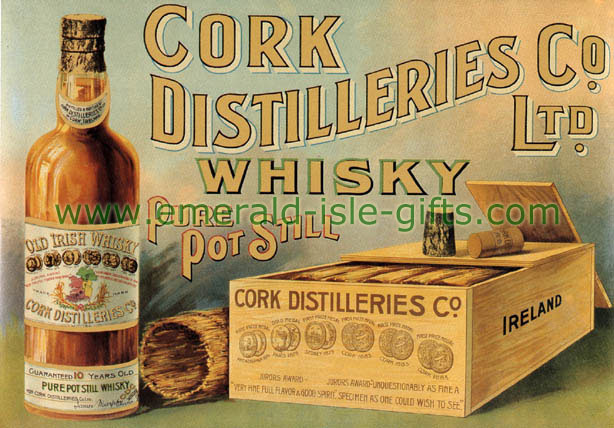 Cork Distillers Irish Whiskey vintage old poster print