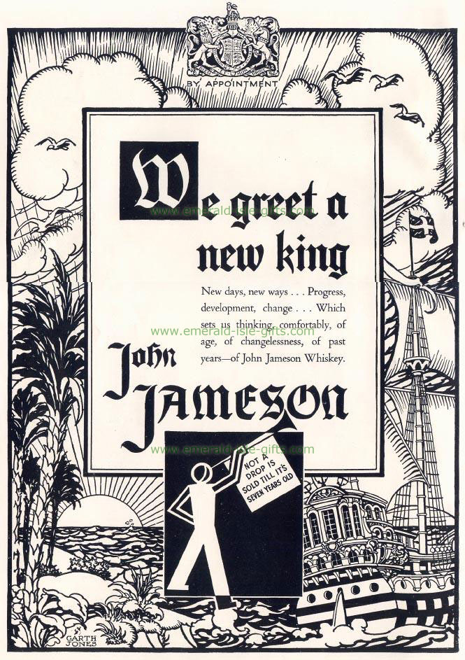 John Jameson Irish Whiskey vintage old poster print