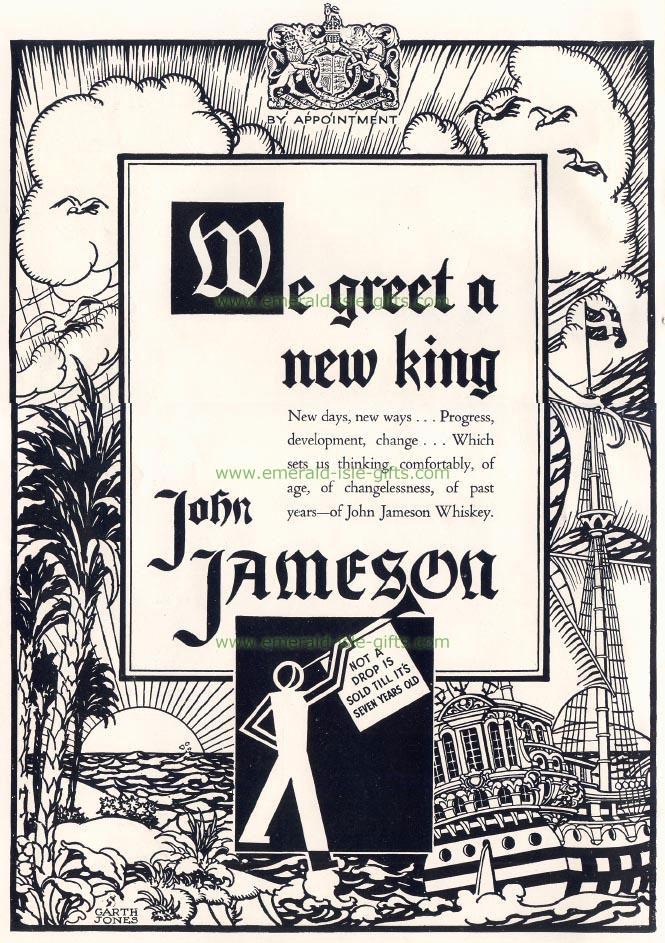 John Jameson Irish Whiskey vintage old poster print (reproduction print)