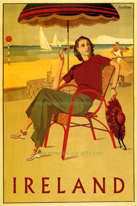 Irish Fashion Girl on Beach - old Tourism Poster (vintage old Irish print)