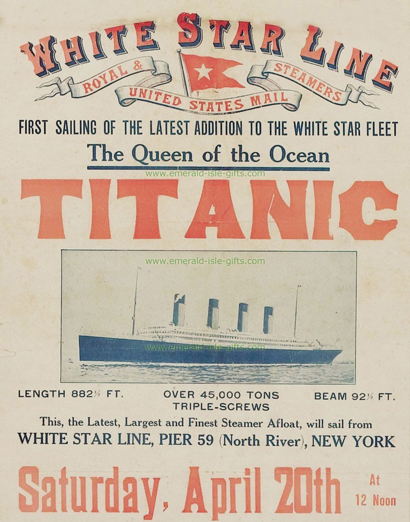 irish vintage advertising titanic vintage poster reproduction first sailing from new york. Black Bedroom Furniture Sets. Home Design Ideas