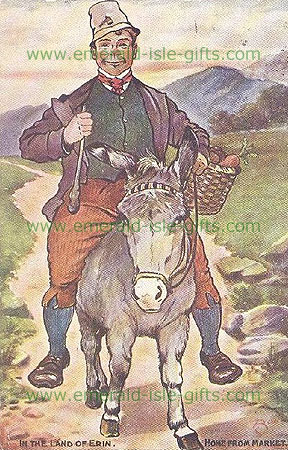 Irishman on the way home from Market (typical steroptype depiction)
