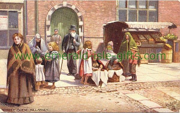 Killarney - Typical Irish street scene (old Irish photograph)