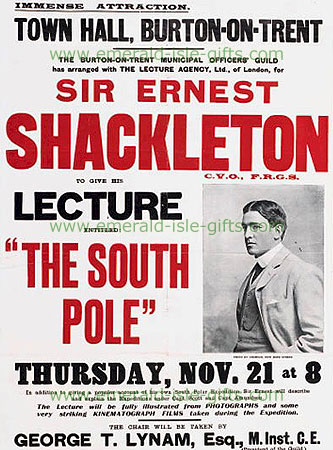 Poster for Ernest Shackleton lecture on South Pole