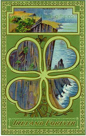 Ireland Forever - Fairhead, Antrim (old patriotic Irish print)