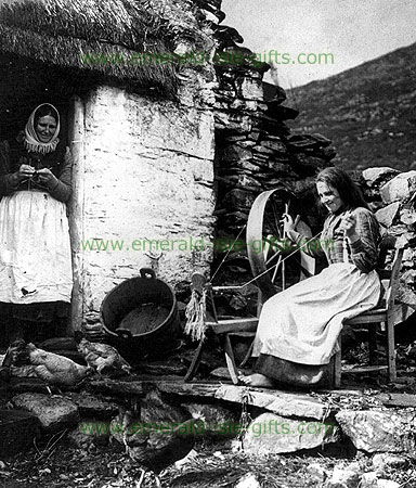 Wool Spinning old Irish photo