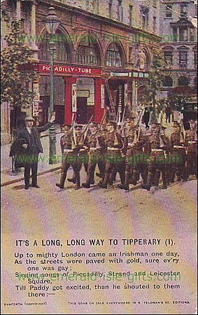 Print of WW1 Irish soldiers at Piccadily Circus