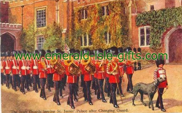 The Irish Guards & Wolfhound old print