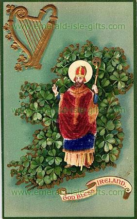 St Patrick - God Bless Ireland - print (old Irish print)
