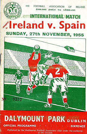 Print of cover of Ireland V Spain soccer match 1955