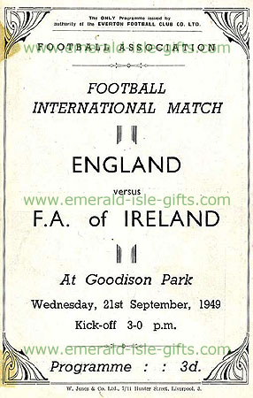 Programme cover print Ireland V England 1949, Goodison Park (England 0 Ireland 1)