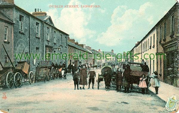 Longford - Longford Town - Dublin Street (old colour Irish photo)