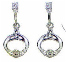 Silver Irish Claddagh CZ Drop Earrings