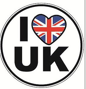I Love UK - Union Jack - Heart - Decal Car Sticker