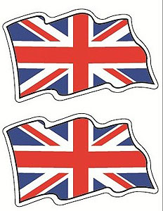 Pair of Flying UNION JACK Flags British Decal Car Sticker