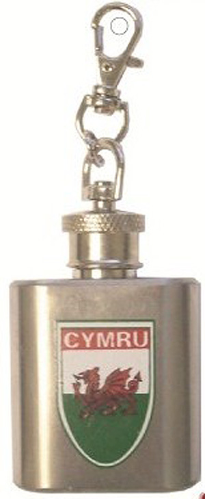 CYMRU Welsh 1oz Hip Flask Keyring - Key Chain - Wales - UK