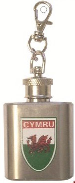CYMRU Welsh 1oz Hip Flask Keyring - Key Chain - Wales - UK (Welsh gift !)