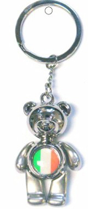 Irish Teddy Bear Tricolor Flag Keyring
