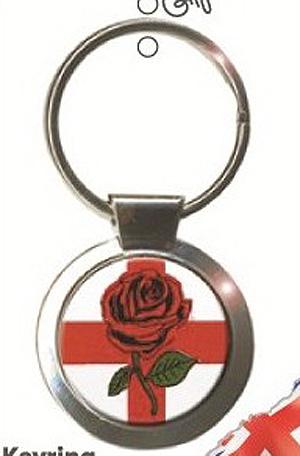 English Rose Symbol Round Keyring  / Key Chain England great Gift (Symbol of England)