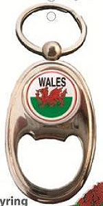 WELSH Metal Bottle Opener & KEYRING - Wales Flag