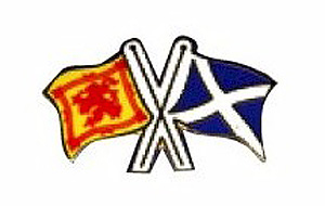 Scotland Crossed Flags Pin Lapel Clip (Saltire & Lion Rampart)