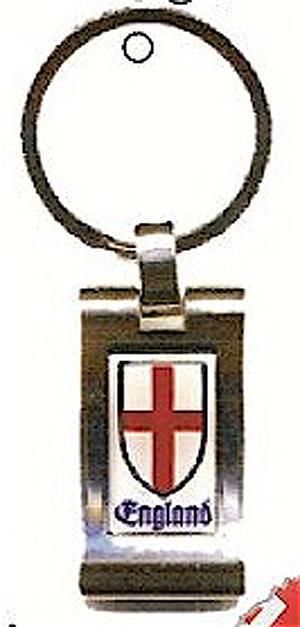 ENGLAND St George Cross SHIELD Quality Metal English KEYRING Key Chain (Patron Saint)