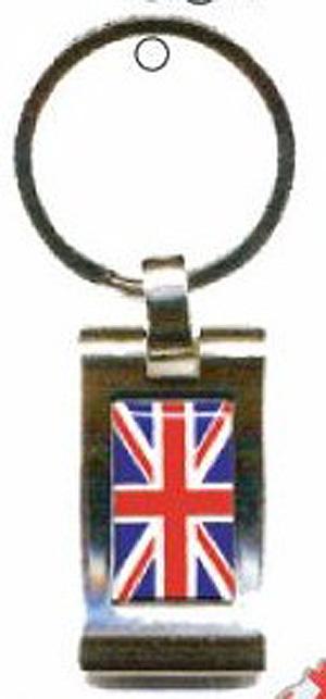 Union Jack Quality British Metal British KEYRING Key Chain - UK Gift - Rectangle (UK Rocks !)