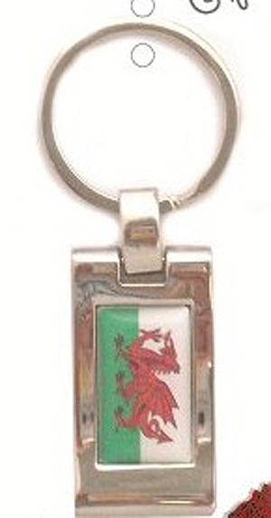 Dragon Welsh Flag Retangle KEYRING / Key Chain (Quality Metal item)