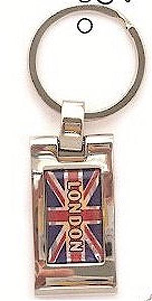 London Union Jack Quality Metal English Keyring Key Chain - English (Memory of London)