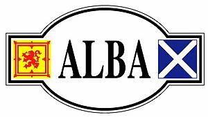 ALBA Scotland Sticker with twin flags (Saltire & Lion Rampart)