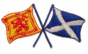 Scottish Twin Flags Decal Car Sticker (Saltire and Lion Rampart)