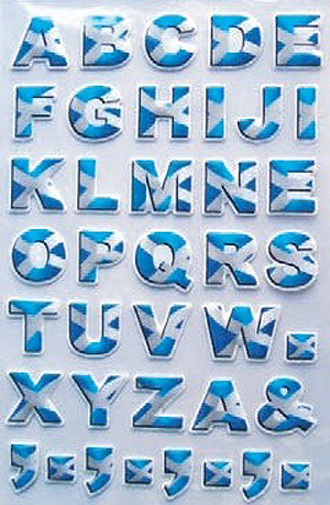 Scottish Blue Alphabet Decal Stickers